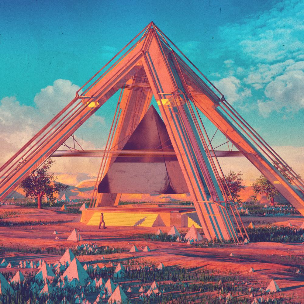 Beeple sci-fi 3D landscape